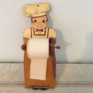 Vintage Home Decor Chef With Roll Of Paper
